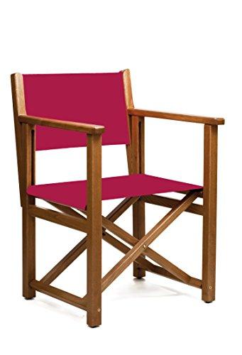 SILLAS MENORCA AUTHENTISCHER MENORQUINISCHER Stuhl - Directors Stuhl - KLAPPBARSTUHL IN Holz für TERRASSE und Garten in Brandy HOLZFARBENTONE und ACRYLSTOFFE in Granat Farbe