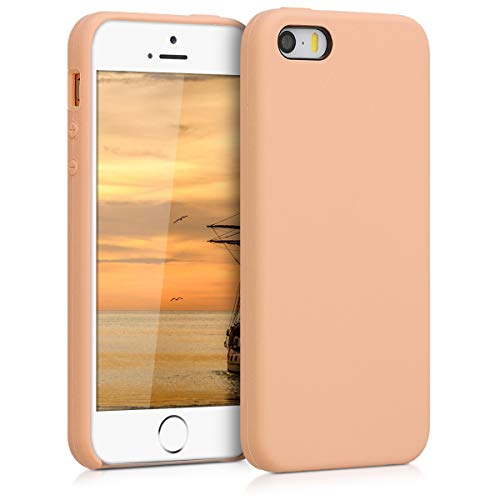kwmobile Funda Compatible con Apple iPhone SE (1.Gen 2016) / 5 / 5S - Carcasa de TPU para móvil - Cover Trasero en melocotón Claro