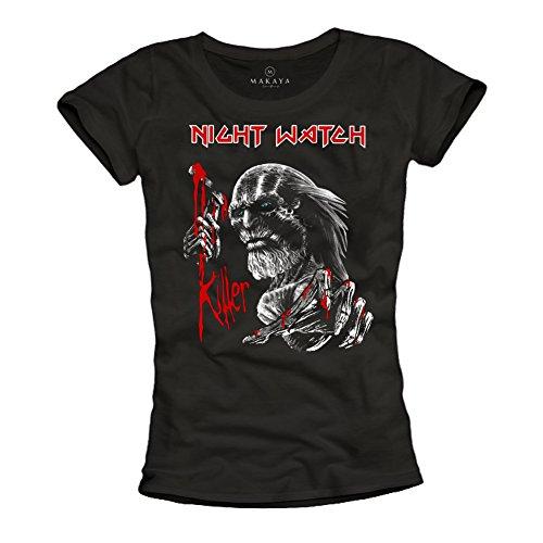 Night Watch Killer - Camisetas Originales Juegos de Trones Mujer Iron Maiden Negra L