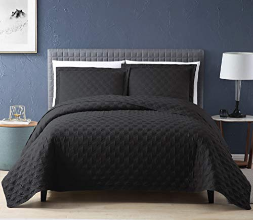 EXQ Home Quilt Set Twin Size Black 2 Piece,Lightweight Microfiber Coverlet Modern Style Onion Flower Pattern Bedspread Set