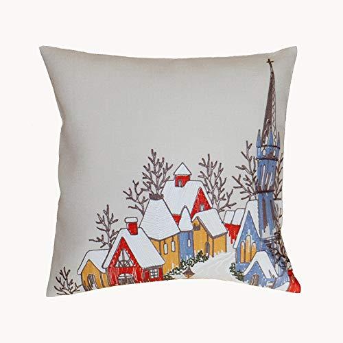 Kamaca Funda de cojín con diseño de pueblo con iglesia, bordado de filigrana en otoño, invierno o Navidad (funda de cojín 40 x 40 cm)