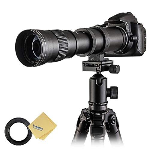 Venidice 420-800 mm F8.3 Teleobjetivo Zoom Lente de enfoque manual con montura en T para Canon EOS T3 T3i T4i T5 T5i T6 T6i T6s T7 T7i SL1 SL2 6D 7D 7D 60D 77D 80D 5D II/III/IV DSLR Cámara Venidice