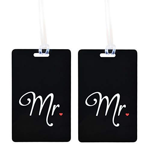 Etiqueta Mr & Mrs - Etiqueta Luna de Miel - Honeymoon Etiqueta para Equipaje - Identificador para Maleta - Con Campo de Dirección - Regalo de boda, Despedida de Soltero, Bridal Shower - 2 pc. (Set)
