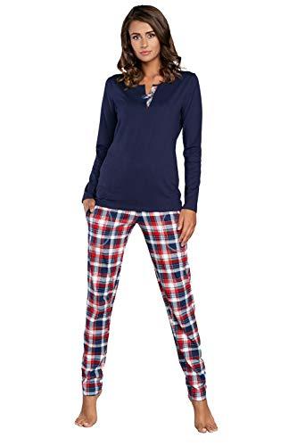 Italian Fashion IF Pijama Camiseta y Pantalones Mujer IFS18015 (Azul Oscuro, XXL)
