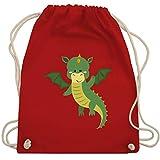 Shirtracer Tiermotive Kind - Drache - Unisize - Rot - turnbeutel drache - WM110 - Turnbeutel und Stoffbeutel aus Baumwolle