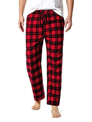 Pigiama, pantaloni da notte in cotone a quadri da uomo, in flanella, a quadretti, pigiama, Rosso, S
