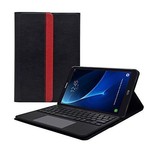 """Samsung Galaxy Tab A 10.1"""" Pouces 2016 (T580N / T585N) Housse de Protection étui Coque Smart Book Case, Clavier enlevable AZERTY, Touchpad Multitouch intégrés (Non pour Le modèle avec S-Pen)"""