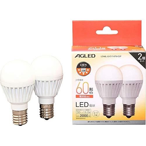 アイリスオーヤマ LED電球 E17 広配光 60形相当 電球色 2個セット LDA6L-G-E17-6T6-E2P
