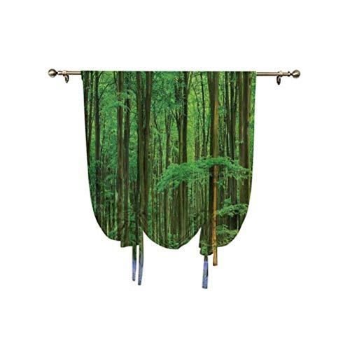 Albert Lindsay Backdrop Woodland Decor - Cortina romana con diseño de campanilla de madera, para verano, vacaciones, destino de escapada, ajustable, 45 x 63 pulgadas, para cocina, dormitorio infantil