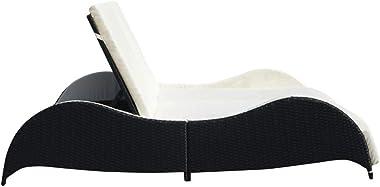 vidaXL Chaise Longue Double avec Coussin Bain de Soleil de Jardin Transat de Patio Chaise Longue d'Extérieur Terrasse Pla