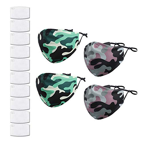 Reusable Fashion Face Mask - Cloth Fabric Face Cover Protection – Camouflage Designs - Machine Washable – Comfortable – Adjustable Size – 10pcs of PM 2.5 Carbon Filters Included (4 Pack (2 Green & 2 Purple/Grey) with 10 filters)