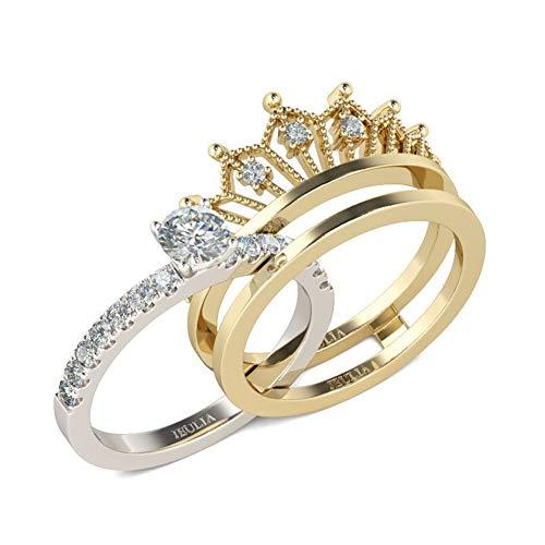Crown Ladies Rings Set Anillo de Compromiso de Plata esterlina Chapado en Oro Anillo de propuesta de Diamante de circonita de Corte Redondo Regalos para Fiesta Aniversario Cumpleaño (15.75)