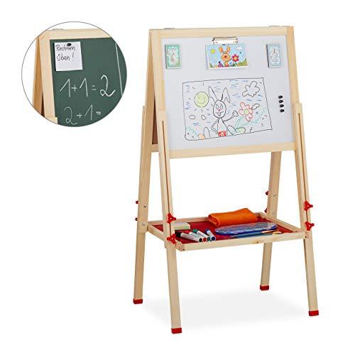 Relaxdays Standtafel Kinder, Whiteboard und Kreidetafel, höhenverstellbar, Aufsteller Holz, 102-135 x 55 x 52 cm, Natur