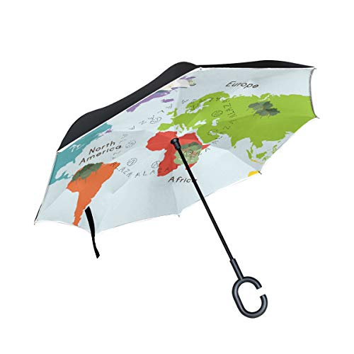 Lowest Prices! PNGLLD Colorful World Map Inverted Umbrella Double Layer Reverse Folding Umbrella wit...