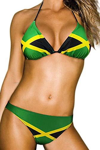 ecolore Damen Mode Karibik Jamaika-Flagge Bikini Swimwear medium / 8-10 grün