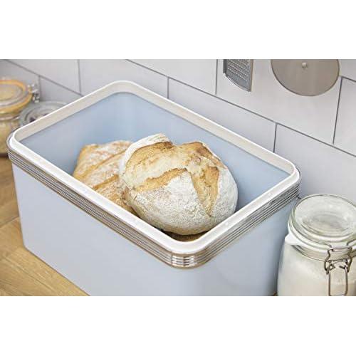 Swan Retro Bread Bin - Duck Egg Blue - 18 Litre Capacity