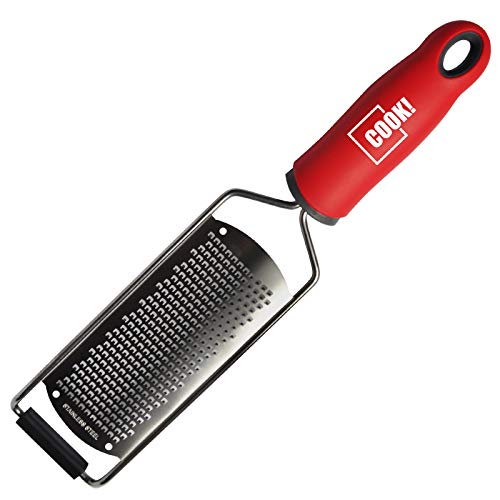 COOK! Cheese Grater for Kitchen, Stainless Steel Lemon Zester Tool, Ergonomic Non-Slip Handle and Blade Cover, Grate Garlic, Nutmeg, Parmesan, Chocolate for Cooking and Baking, Wide Blade, Red