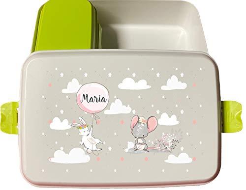 wolga-kreativ Brotdose Bio Kunststoff Hase Luftballon mit Obsteinsatz für Jungen Mädchen Lunchbox Bento Box personalisiert Brotbüchse Brotdosen Kindergarten Schule mit Namen Bedruckt