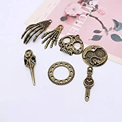 80PCS Assorted Antique Steampunk Gears Vintage Skeleton Charms Pendant Mixed for Necklace Bracelet Jewelry Making Accessory (Bronze and Silver Mixed Color) #4