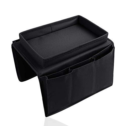Organizador de reposabrazos, 6 bolsas de almacenamiento para sofá, portavasos, bandeja para colgar colgando con gancho
