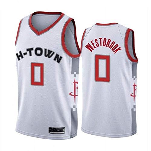 XXMM Camiseta para Hombre, Camiseta De Baloncesto NBA Houston Rockets # 0 Russell Westbrook, Ropa Deportiva De Entrenamiento Informal Sin Mangas, Tela Transpirable De Malla,L(175~180CM)