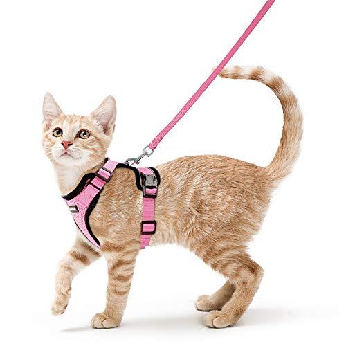 rabbitgoo Katzengeschirr mit Leine Softgeschirr für Katze Brustgeschirr Cat Harness Katzengarnitur ausbruchsicher verstellbar Katzenweste Rosa XS
