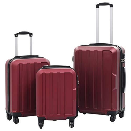Lechnical 3 pièces Ensemble de Chariot à Coque rigide Valise à Main Valise de Voyage Valise de Voyage Trolley Valise bagages Rouge Vin - étuis rigides et serrures de sécurité en ABS