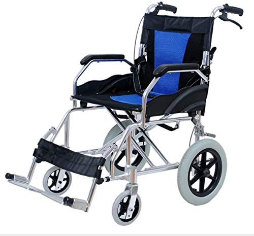 Silla de Ruedas Plegable Ligera para Ancianos discapacitados Gratis Inflable para discapacitados Manual portátil Carrito de avión de Viaje Well