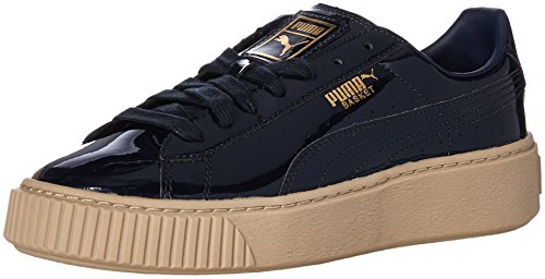 PUMA Damen Basket Platform Patent Wn Sneaker, Peacoat-Peacoat, 41 EU
