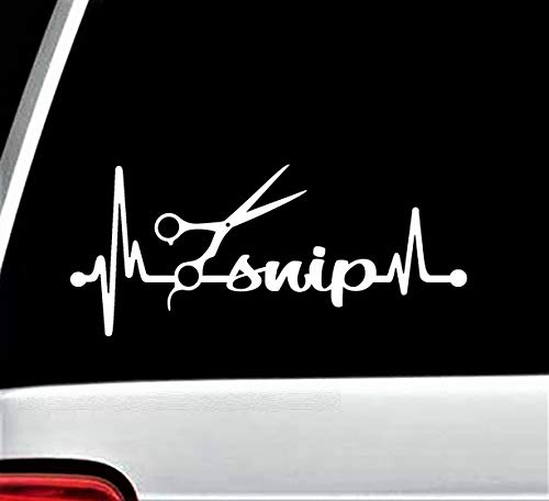 H421ld Stylist Tijeras Car Decal, Snip Heartbeat Lifeline Sticker,