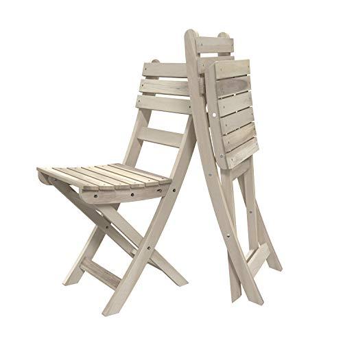 INTERBUILD Sofia Akazie Massivholz klappstühle Holz Bio-Weiß 2 STÜCK klappbar Holzstuhl Campingstuhl Gartenstuhl für Balkon & Terrasse