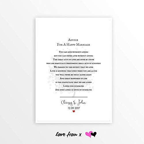 Personalized Wedding Day Gift | 1st 2nd 3rd 4th 5th 6th 7th 10th Anniversary Gift | ADVICE FOR A HAPPY MARRIAGE Poem | WED1_17
