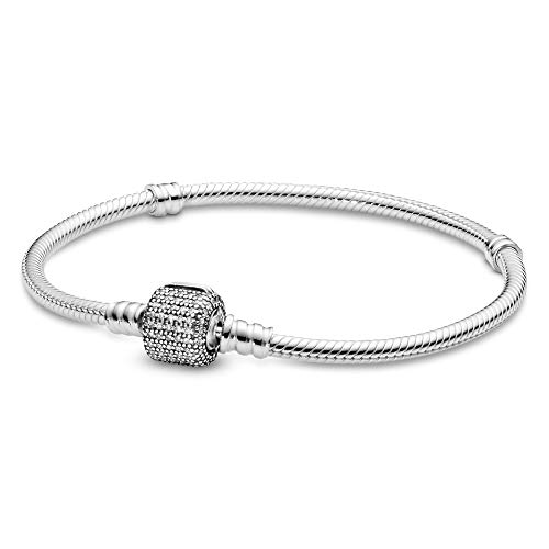 Pandora Jewelry Moments Sparkling Pave Clasp Snake Chain Cubic Zirconia Bracelet in Sterling Silver, 7.9'