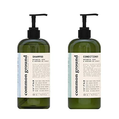 Common Ground Natural Shampoo and Conditioner Set; Paraben and Cruelty Free, Organic, Vegan, Plant-Based Formula, Botanical Scent and Avocado Oil Extract, for Men and Women (2x 16.9 fl oz)