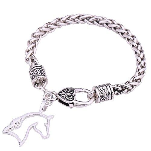 My Shape Pferdekopf Weizenkette Armband Best for Cowgirl Teen Girls Reitsport Geburtstag Geschenk Schmuck