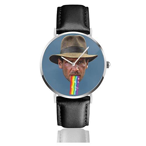Unisex Business Casual Indiana Jones Kotzen Regenbogen Snapchat Filter Uhren Quarz Lederuhr