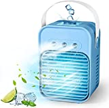 Portable Air Conditioner, Rechargeable Personal Evaporative Cordless Air Cooler Battery Powered Desk Fan with Handle, Desk Misting Fan with 3 Speeds for Small Room Office Dorm and Outdoor