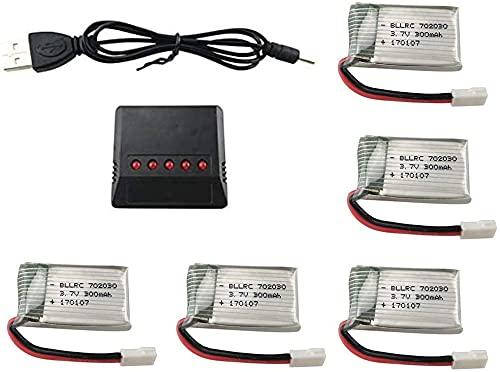 ZYGY 5pcs 3.7V 300mAh 25C Lipo batería con 5en1 Cargador para Syma S39 X11 X11C WLToys V911S A120 XK A150 V966 FX801 UDI U830 U816A Hubsan X4 H107L DFD F180W F180C HS170 HS170C HS177 RC Drone