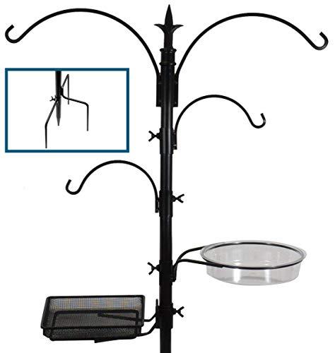 Sorbus Bird Feeding Bath Station, Black Metal Pole with...