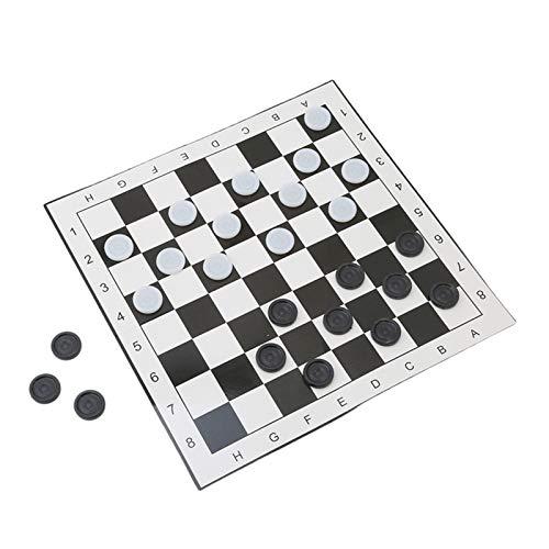 MICOLOD Damas internacionales Tablero de Juego de ajedrez plástico Plegable portátil 33 * 33cm + Ajedrez 24pcs Bolsillo Plegable magnético