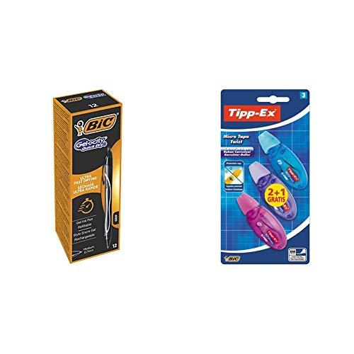 Bic Gelocity Quick Dry, Scatola Con 12 Penne, Colore Nero & Tipp-Ex Micro Tape Twist Correttori 8M, Corpi Di Colori Assortiti, Pacco Da 21