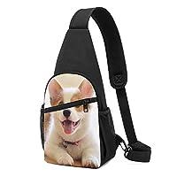 コーギー犬 ワンショルダーバッグ クロスボディバックパック ボディバッグ 斜めがけ バッグ おしゃれ 男女兼用 軽量 大容量