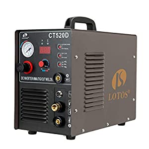 Lotos CT520D 50 AMP Air Plasma Cutter, 200 AMP Tig and Stick/MMA/ARC Welder 3 in 1 Combo Welding Machine, ½ Inch Clean Cut, Brown from Lotos Technology