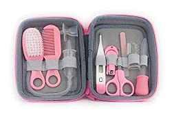 KailexBaby Baby Grooming Kit, Health, Nail Clippers, Safety, Care, Nasal Aspirator, Oral Suction, Nose Cleaner, Vacuum, Manicure, Nursery, Newborn, Infant, Baby Shower, Registry Gift (Pink)