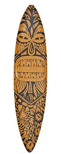 Interlifestyle Surfboard 100cm Dekoration Maori Moai Surbrett im Tiki Beach Style Hawaii