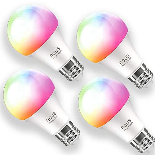 LED Glühbirne E27, Nous P3 Alexa RGB Smart Lampe Wlan Mehrfarbige Dimmbare Lampe Kompatibel mit Alexa, Google Home, Kein Hub Erforderlich Smart Birne Glühbirne, 9W, 2700K-6000K, 800LM, 4er Pack