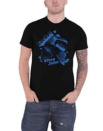 Elton John T Shirt Rocketman Jump Logo Nue offiziell Herren Schwarz