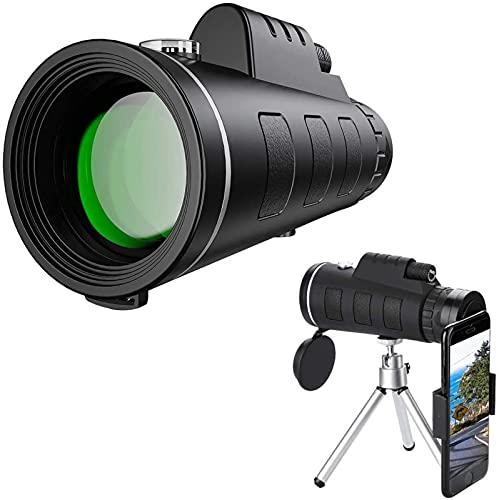 MWKL Telescopio monocular de Alta Potencia 12x50 HD para Adultos, Lente FMC y Prisma BAK4, monocular Antipolvo Impermeable con trípode Adaptador para teléfono Inteligente