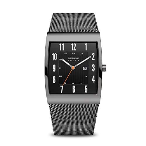 BERING Herren Analog Solar Uhr mit Edelstahl Armband 16433-377