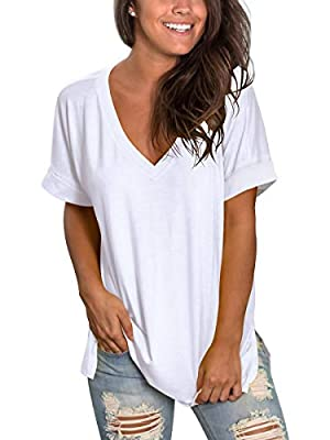 SAMPEEL Womans Short Sleeve Tunic Tops Summer Cute Summer T Shirts Leggings White XL